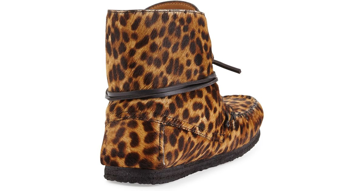 0bdc755c0b6f Isabel Marant Flavie Leopard-print Calf Hair Moccasin Boot in Brown - Lyst