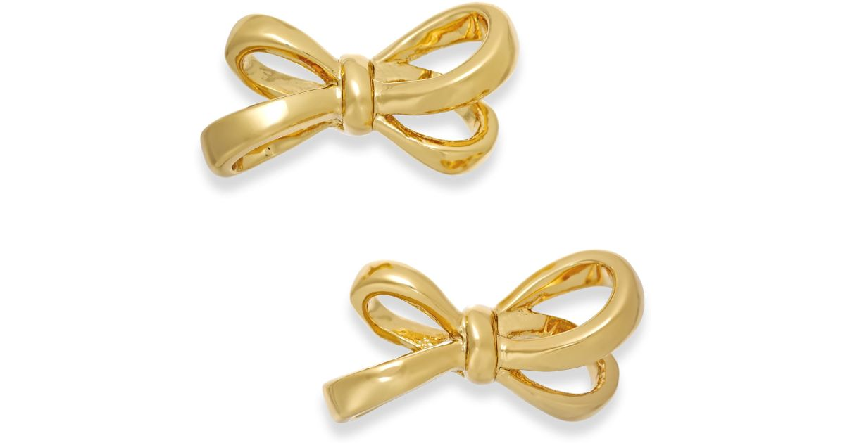 kate spade gold tone bow stud earrings in gold lyst