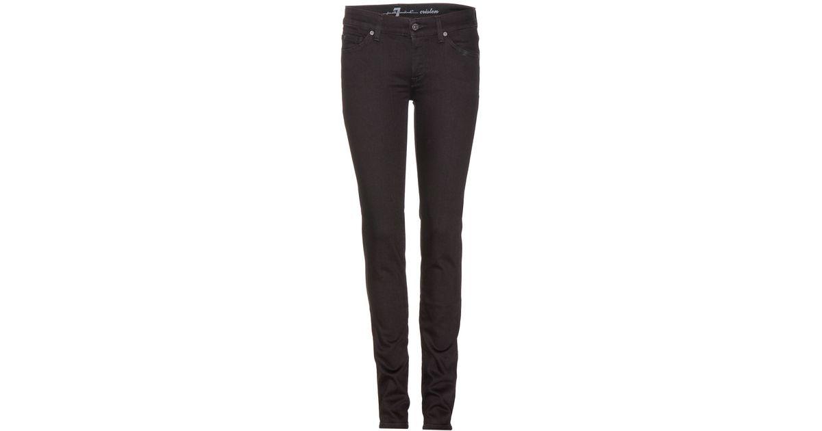 7 for all mankind cristen skinny jeans in black lyst. Black Bedroom Furniture Sets. Home Design Ideas
