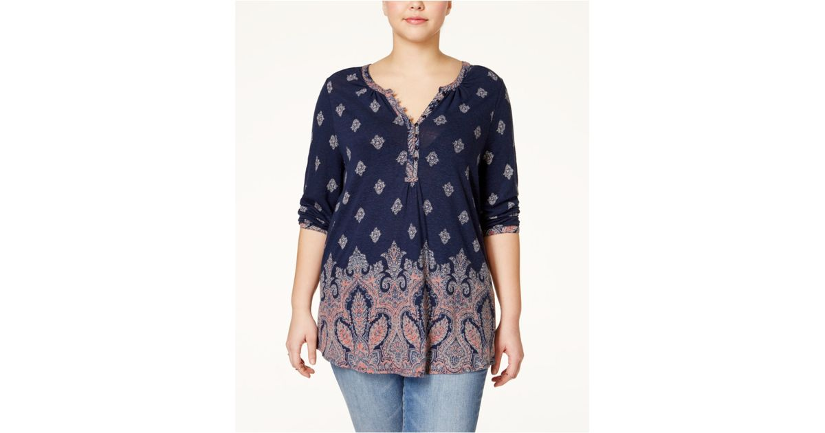 3f8e786ed35 Lyst - Lucky Brand Plus Size Paisley Border-print Top in Blue