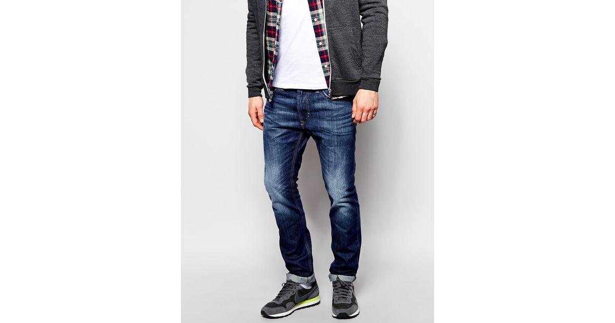 3154bdb9 DIESEL Jeans Thavar Slim Tapered Fit 838b Mid Wash in Blue for Men - Lyst