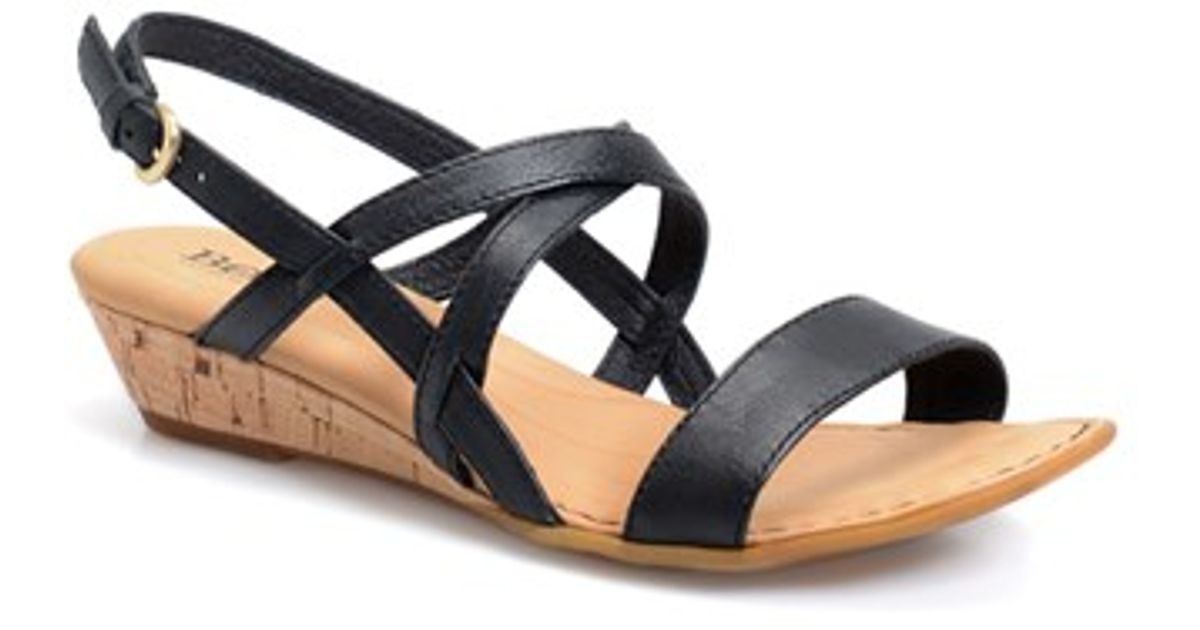 733b0a1a96a Lyst - Born  porta  Low Wedge Sandal in Black
