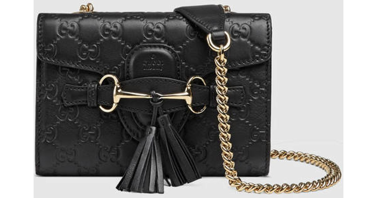 651a25e3482b Gucci Emily Ssima Mini Shoulder Bag in Black - Lyst
