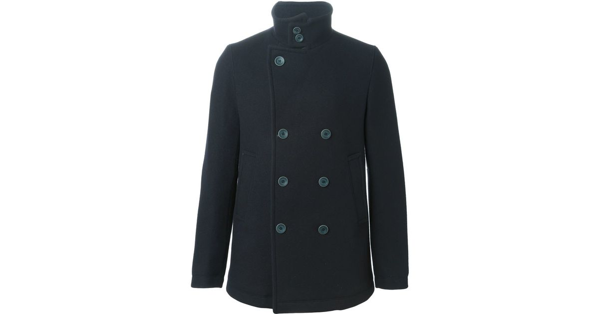 factory outlets reputable site great variety styles Herno Blue Funnel Neck Peacoat for men