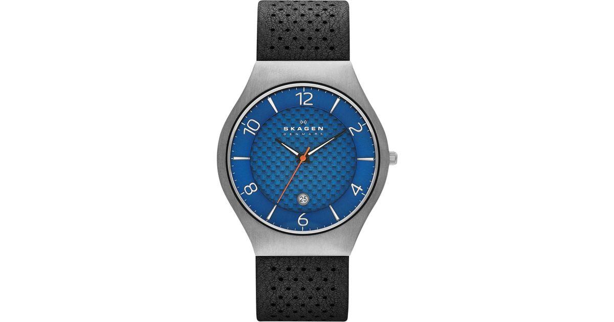 Black Skw6148 Perforated Strap Leather Watch Lyst Men 41mm Grenen Skagen Men's For nkP80wOX