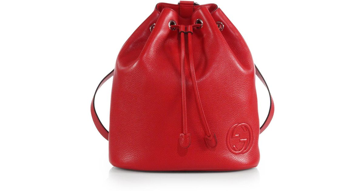 84eb77ad8d3 Lyst - Gucci Soho Leather Drawstring Backpack in Red for Men