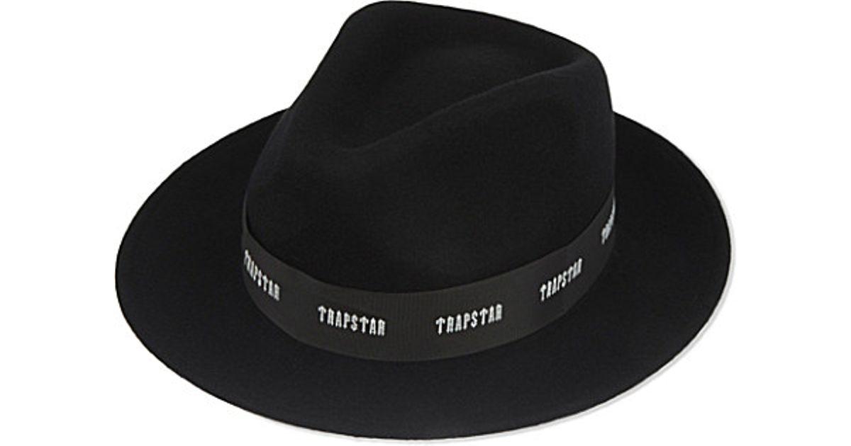Trapstar Logo Band Wool Fedora in Black for Men - Lyst f2adbe9050f