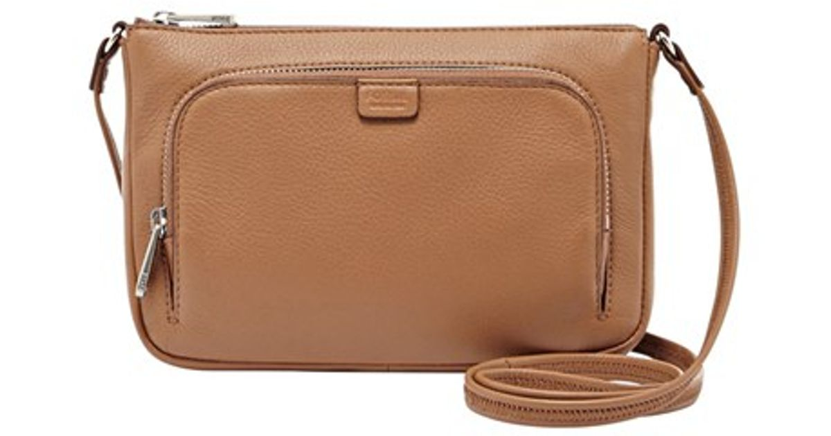 d799f9488e Fossil 'mini Riley' Leather Crossbody Bag in Natural - Lyst