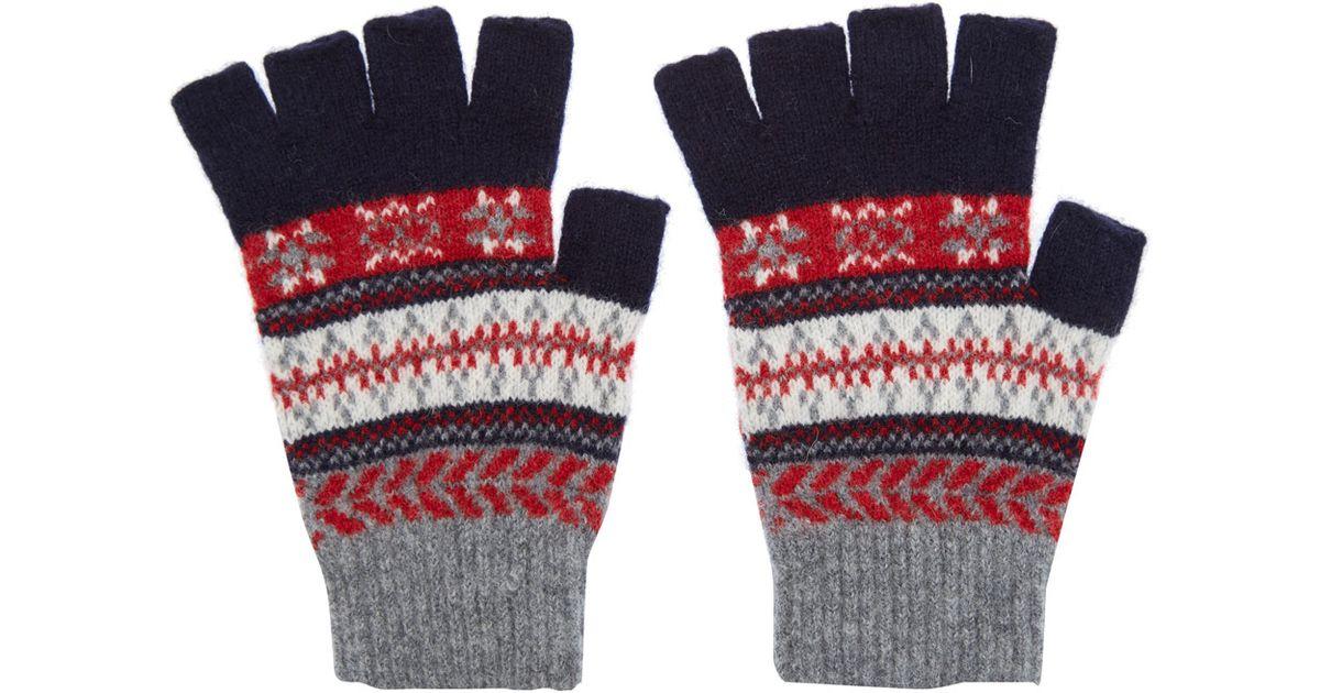 1d7862cb6bbb7 Barbour Fair Isle Wool Fingerless Gloves in Blue for Men - Lyst