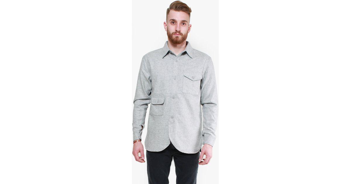 Han Kjobenhavn Army Shirt In Gray For Men Grey Wool