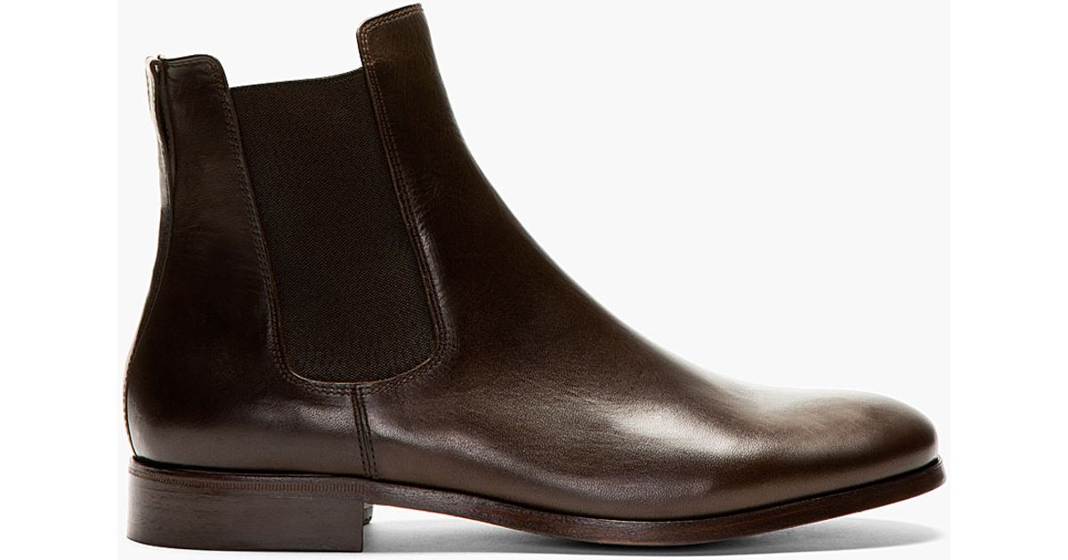 a p c brown leather chelsea boots in brown for lyst