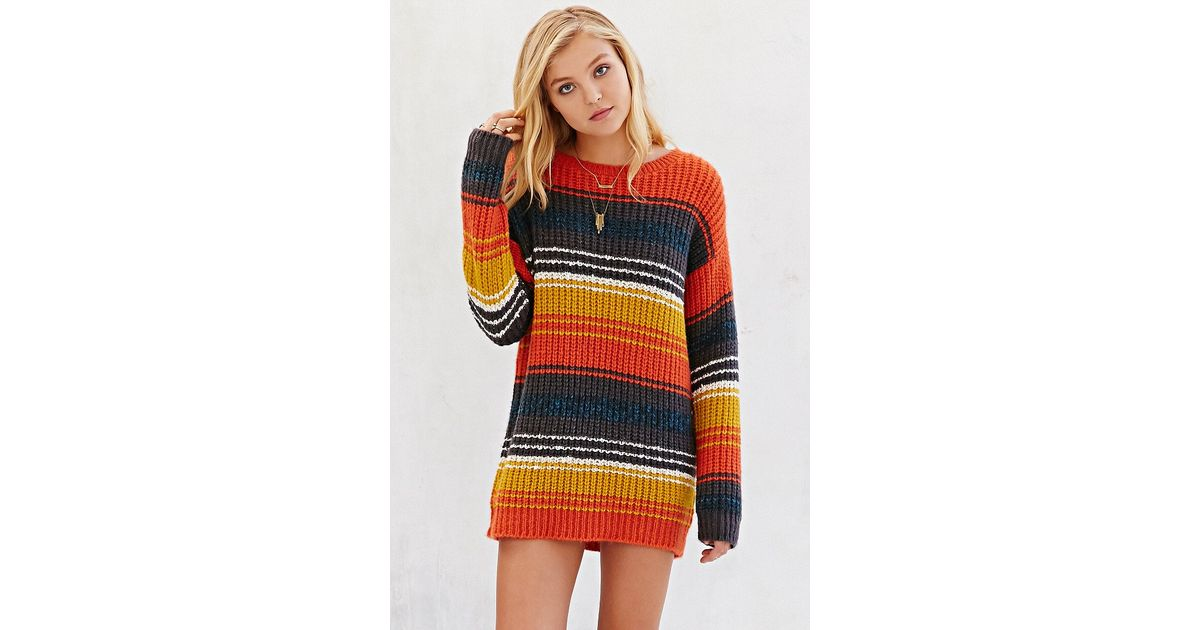Bdg Striped Boyfriend Sweater in Orange | Lyst