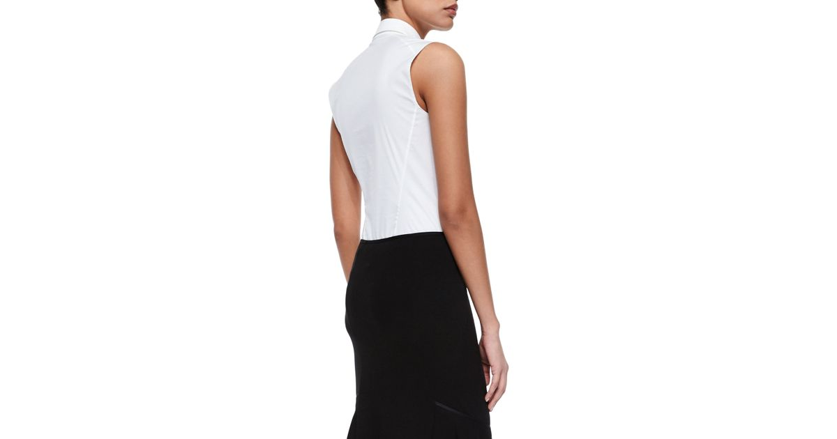 6a78cdb794a2 Donna Karan Sleeveless Collared Poplin Bodysuit in Black - Lyst