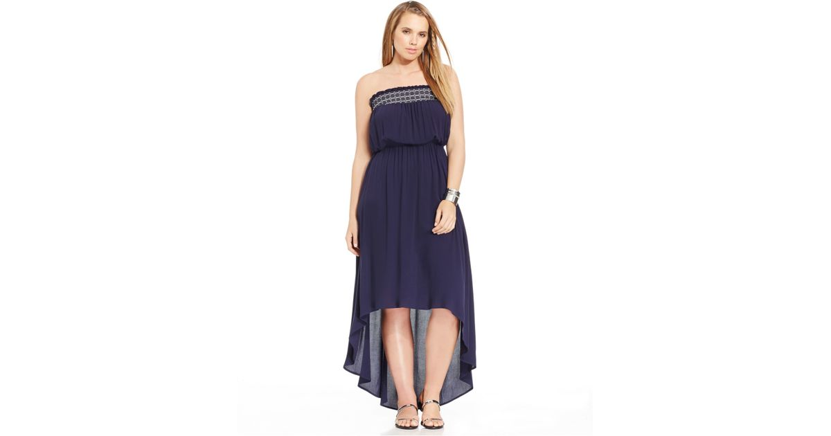 Soprano Plus Size Strapless High-low Maxi Dress in Blue - Lyst