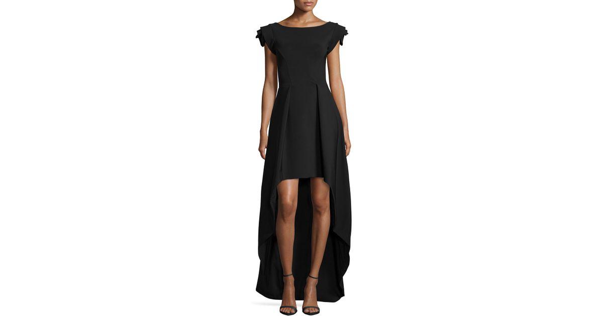 3822ac42ab6c7a La Petite Robe Di Chiara Boni Dionne Rosette Cap-Sleeve High-Low Dress in  Black - Lyst