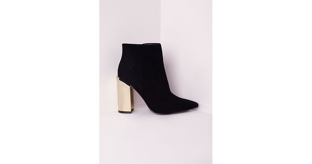 Lyst - Missguided Gold Plated Block Heel Ankle Boots Black in Black