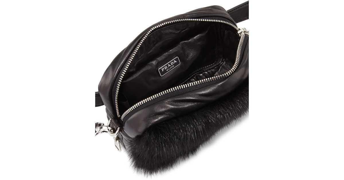 44d37f48848879 ... spain new style lyst prada nappa bomber mink fur belt bag in black  1f7f3 1dfcb 79fde