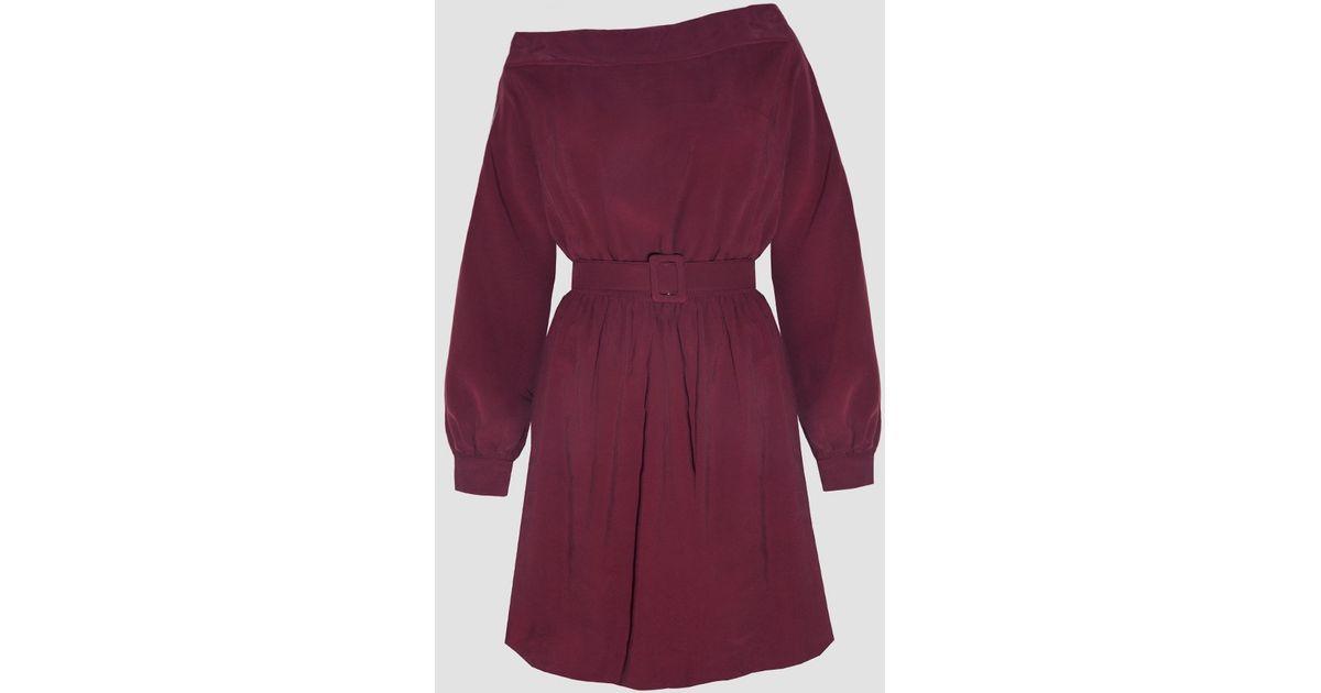 9d0c1346f285 Lyst - Pixie Market Burgundy Off The Shoulder Shirt Dress in Purple