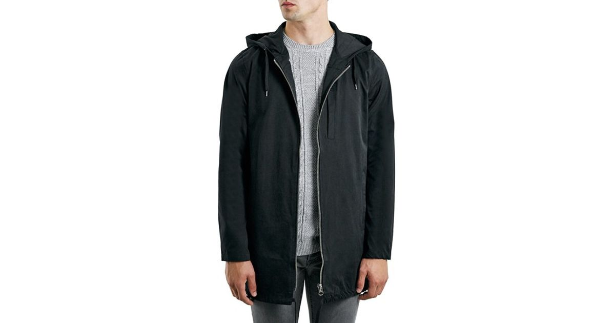 Topman Lightweight Black Hooded Parka in Black for Men | Lyst
