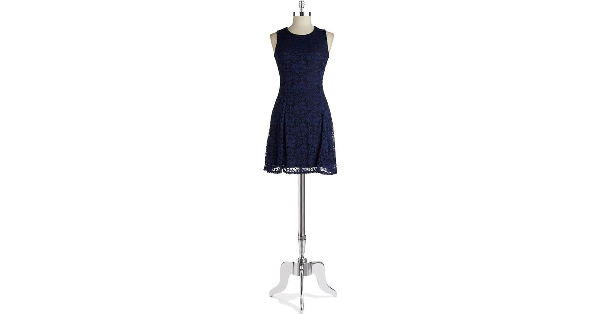Lord Taylor Blue Lace Fit And Flare Dress Lyst