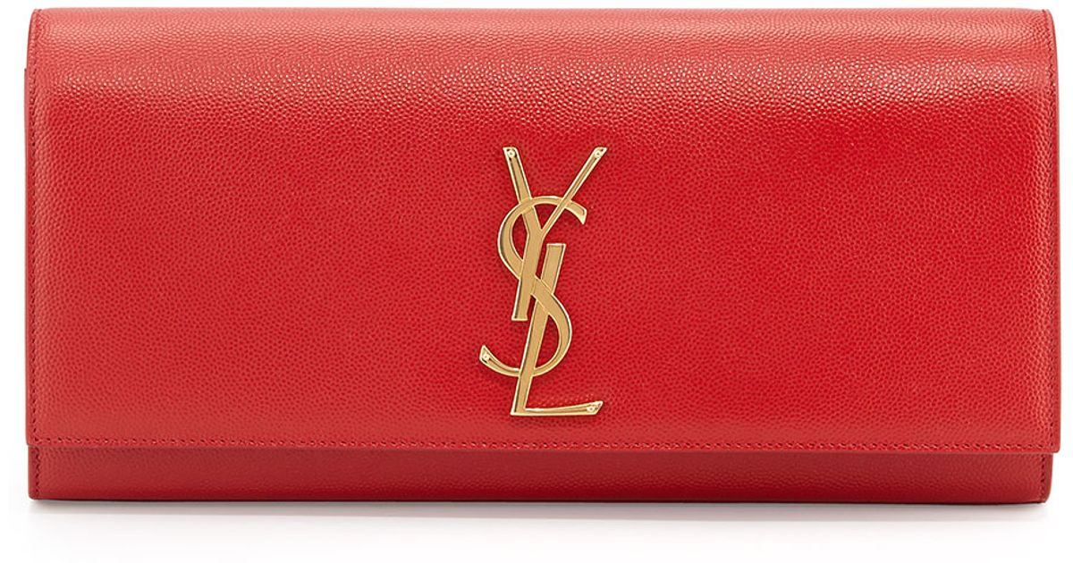 14bd8f917a25 Saint Laurent Cassandre Ysl-Flap Leather Clutch Bag in Red - Lyst