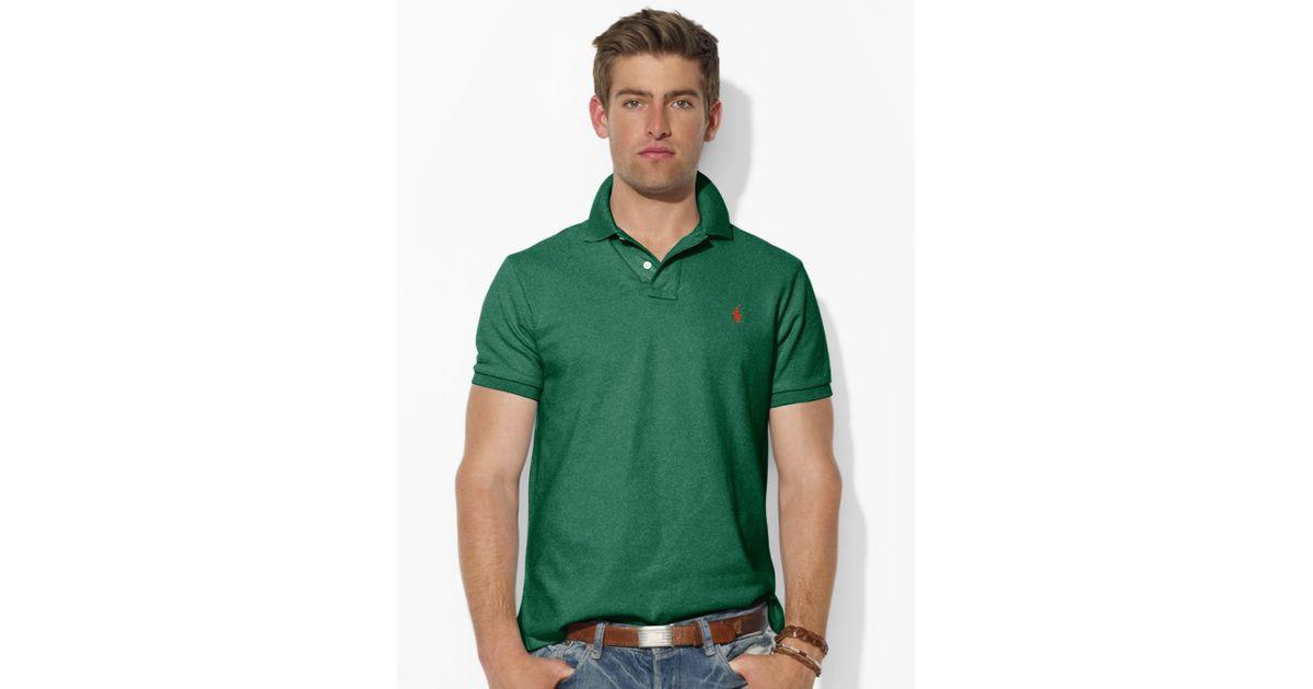 Lyst - Polo Ralph Lauren Custom-fit Mesh Polo Shirt in Green for Men 21313399ff1