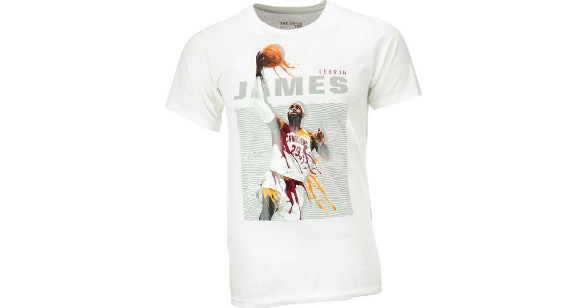 new product 7937a 52ad1 Adidas White Men's Lebron James Cleveland Cavaliers Elevate Player T-shirt  for men