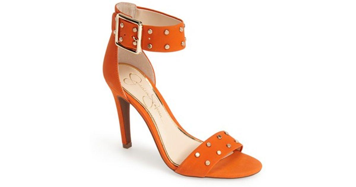 a712918ca35 Lyst - Jessica Simpson  elonna  Studded Ankle Cuff Sandal in Orange