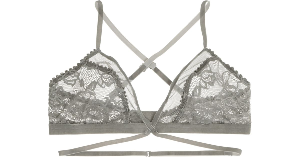 7a731187ce98d Lonely Winona Lace, Tulle And Velvet Soft-cup Triangle Bra in Gray - Lyst