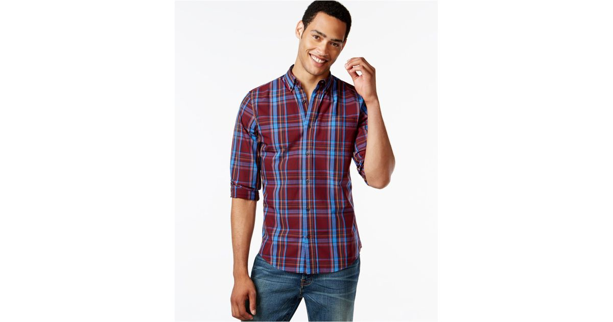 Tommy hilfiger lockheed big and tall plaid long sleeve for Big and tall long sleeve shirts