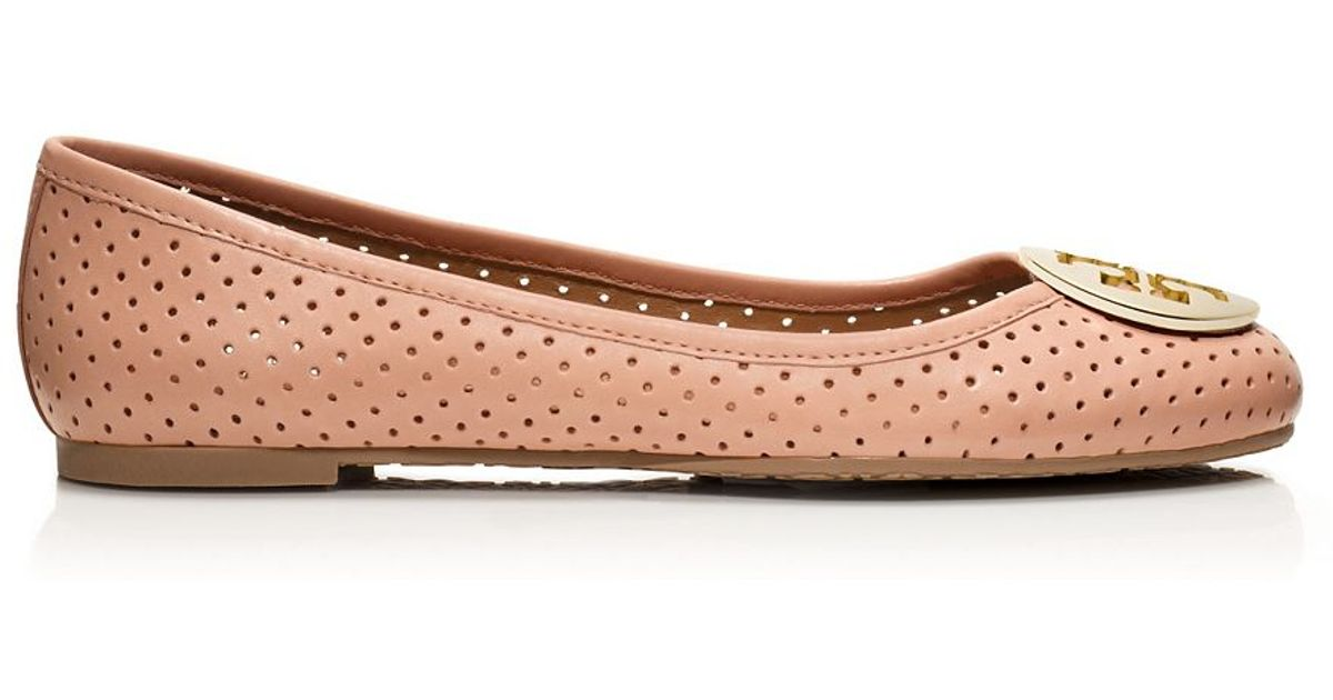 9efe1fafba8 Lyst - Tory Burch Reva Perforated Leather Ballet Flats in Natural