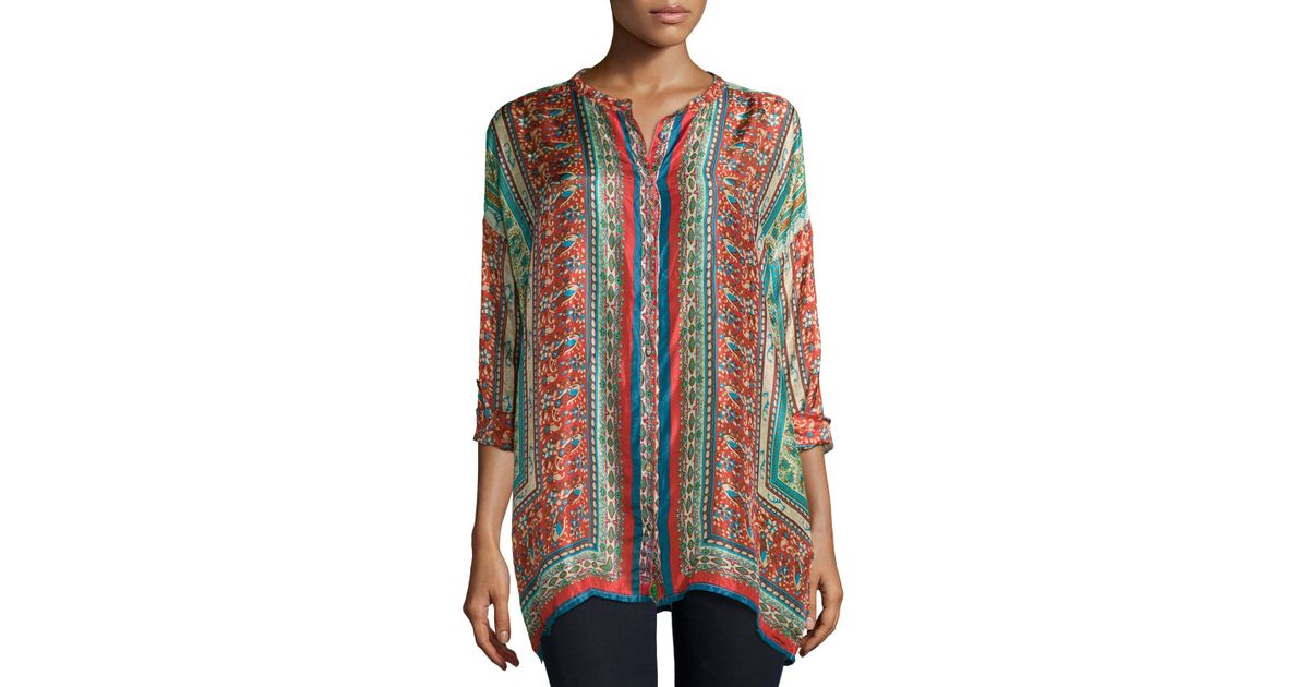 f72ab2bf518 Johnny Was Sari Button-front Printed Silk Tunic in Blue - Lyst