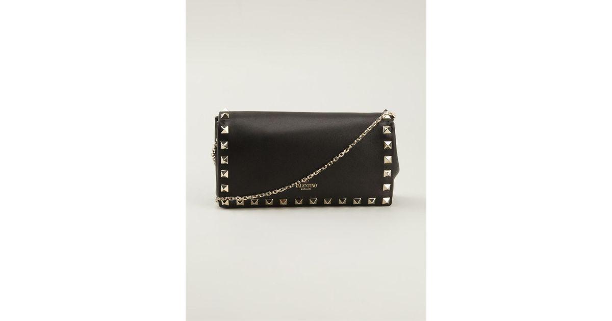 Lyst - Valentino Mini Rockstud Chain Shoulder Bag in Black