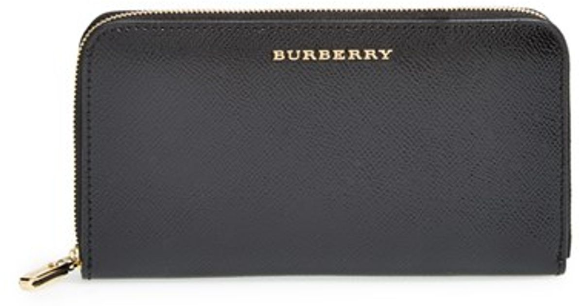 2dc1dd19a2f5 Burberry 'elmore - London Leather' Zip Around Wallet in Black - Lyst