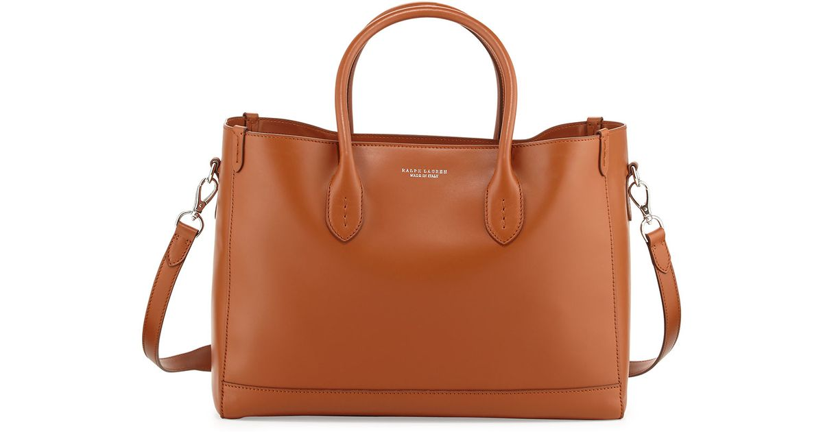 031c6f4c9221 ... best price lyst ralph lauren smooth leather east west tote bag in brown  69a52 7e8b9
