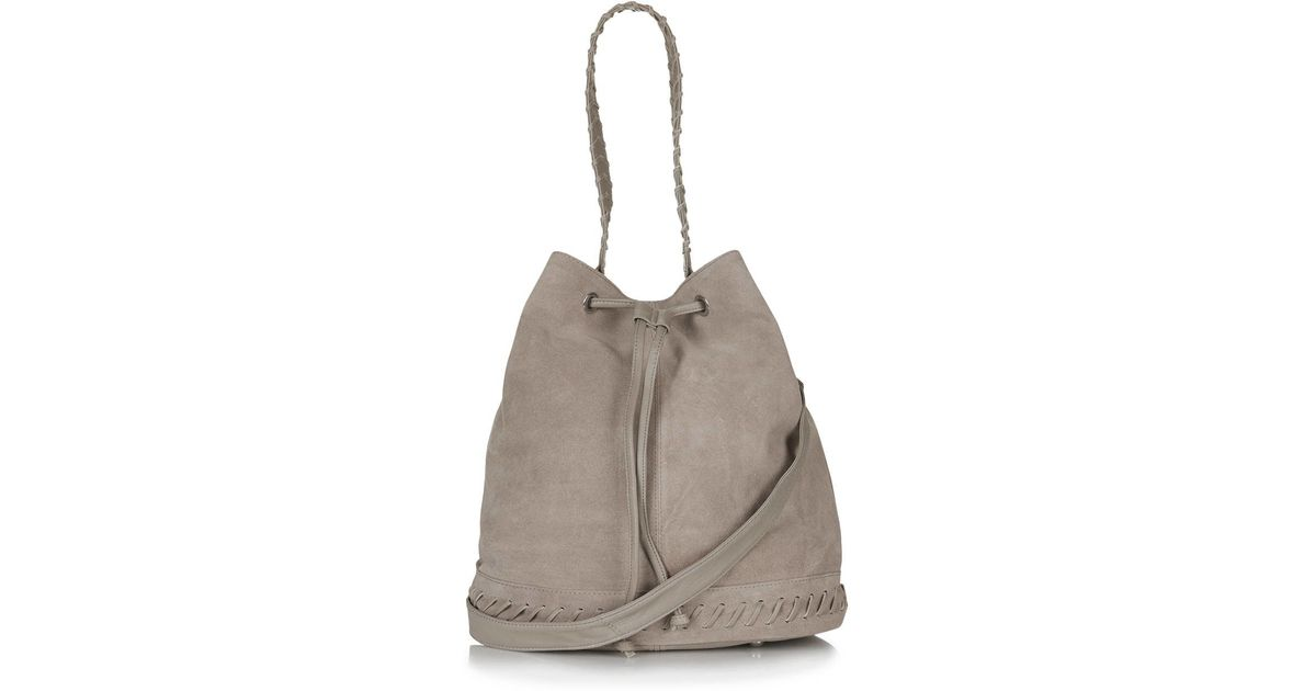 Lyst - TOPSHOP Hunk Whipstitch Suede Bucket in Gray 52e2f88f89a6b