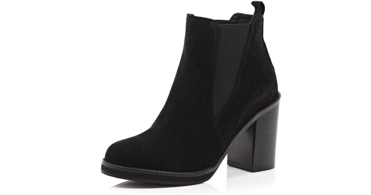 River Island Black Suede Chelsea Block Heel Ankle Boots in Black - Lyst 958de9f4a
