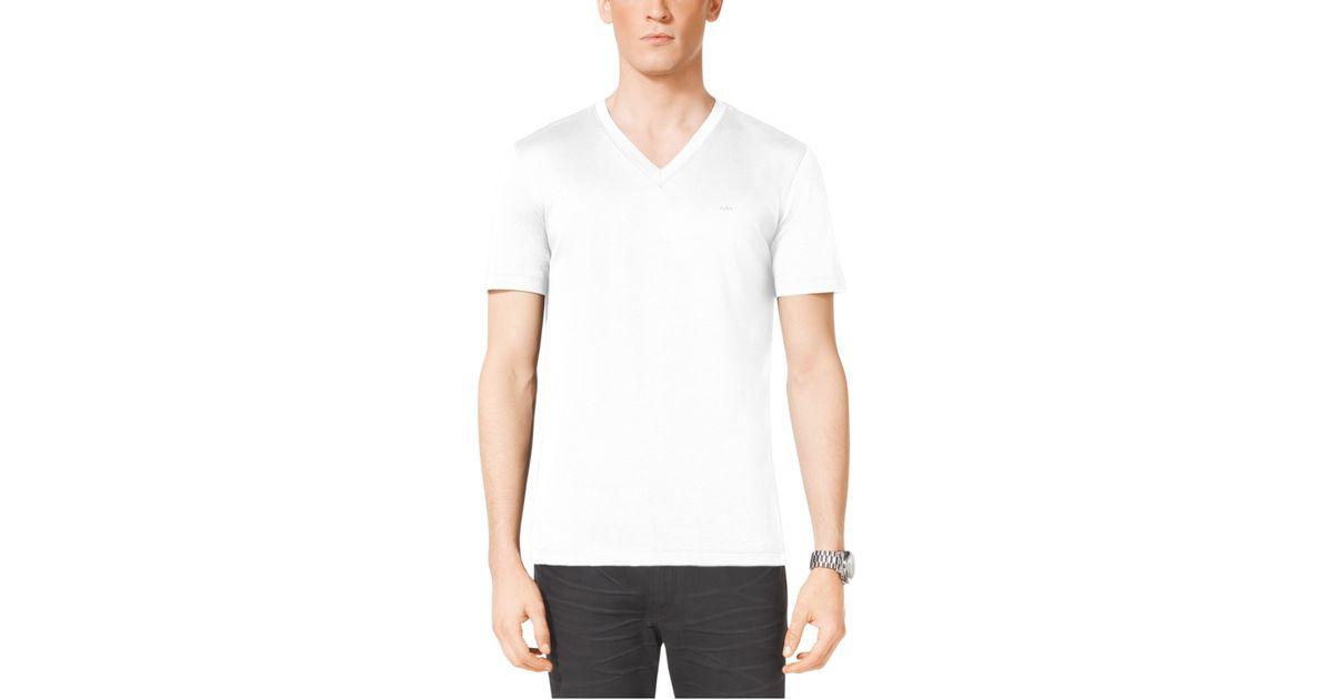 michael kors v neck cotton t shirt in white for men lyst. Black Bedroom Furniture Sets. Home Design Ideas
