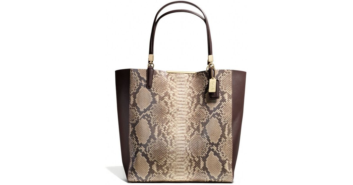 a9abb644457c ... netherlands lyst coach madison northsouth bonded tote in python  embossed leather 173e5 10476