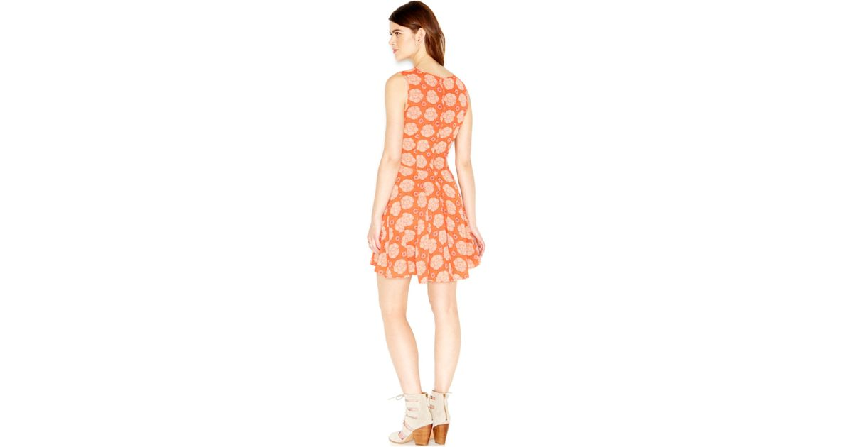 d5a297aa0d87 Lyst - Maison Jules Sleeveless Floral-print Flared Dress in Orange
