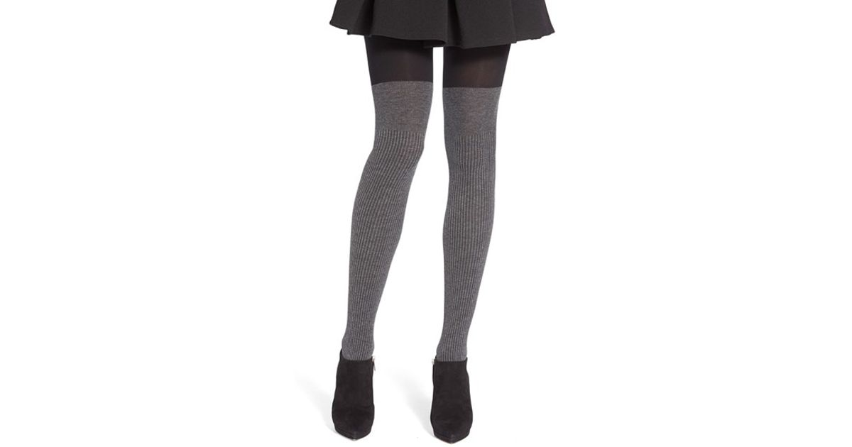 ee4a31e0474cd Lyst - DKNY Ribbed Faux Over The Knee Tights in Black