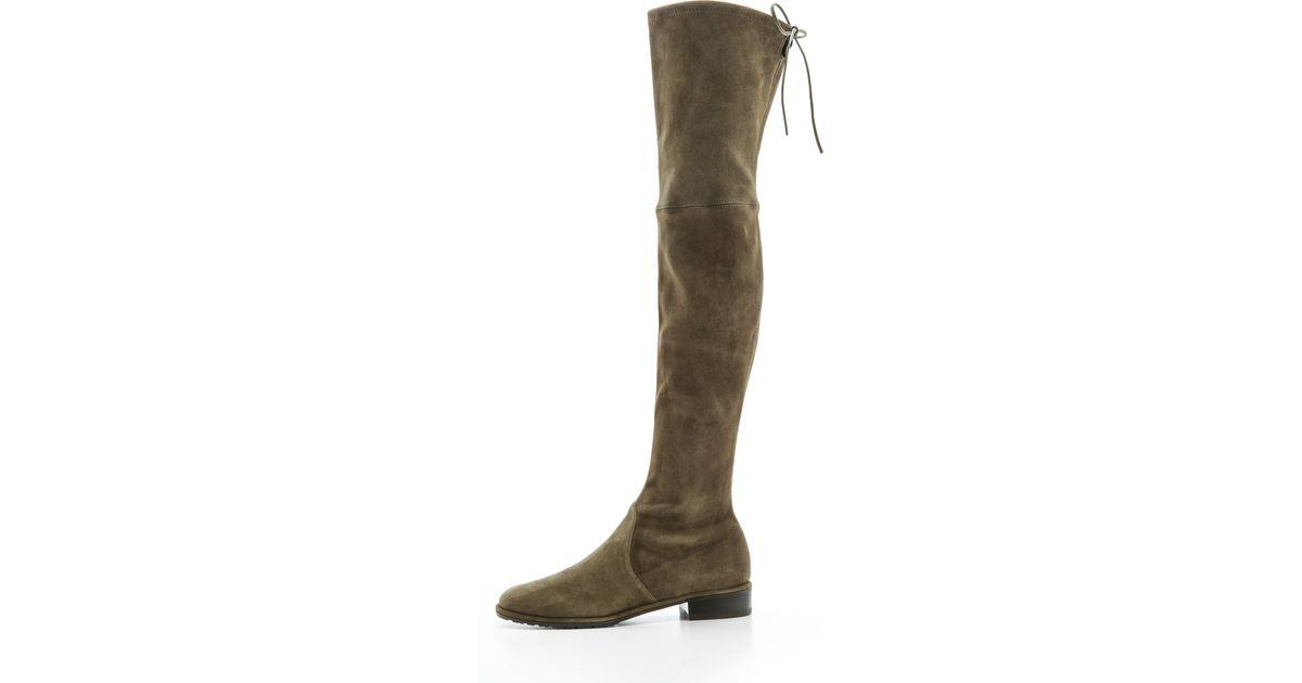 Stuart weitzman Lowland Thigh High Flat Boots - Loden in Green | Lyst