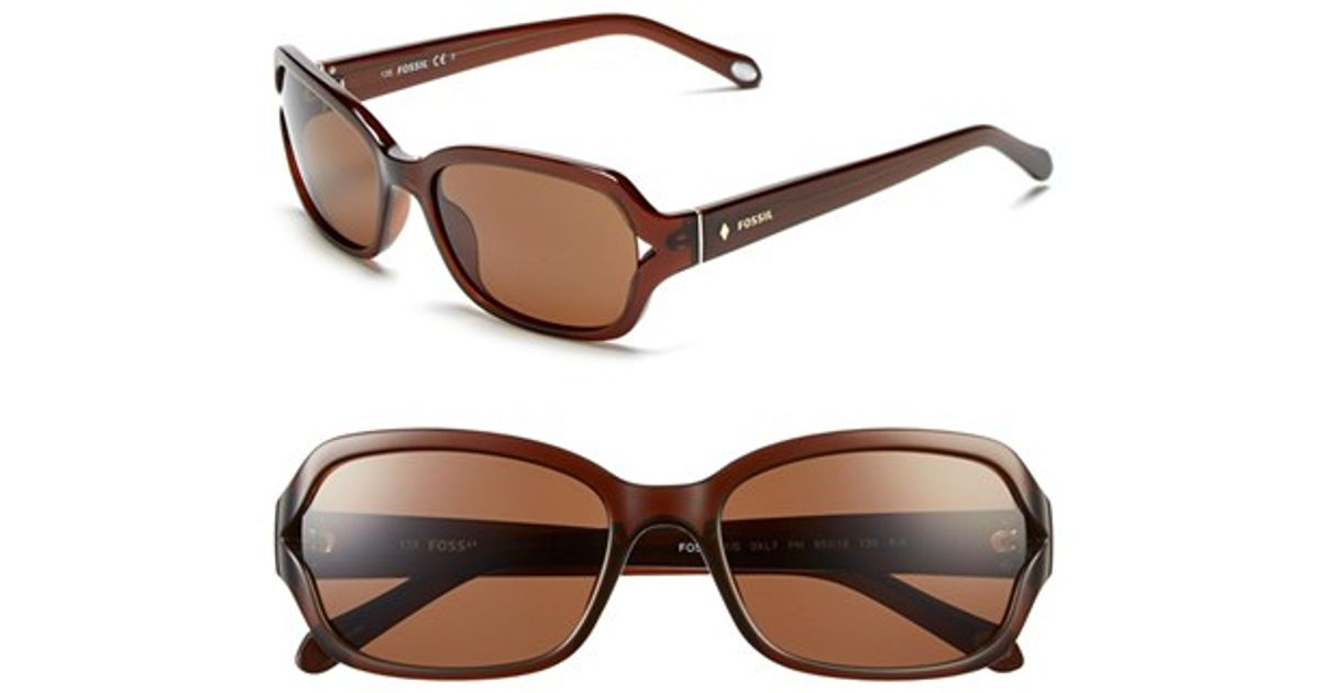 e990b7d413ea Lyst - Fossil 55mm Rectangle Sunglasses - Transparent Brown in Brown