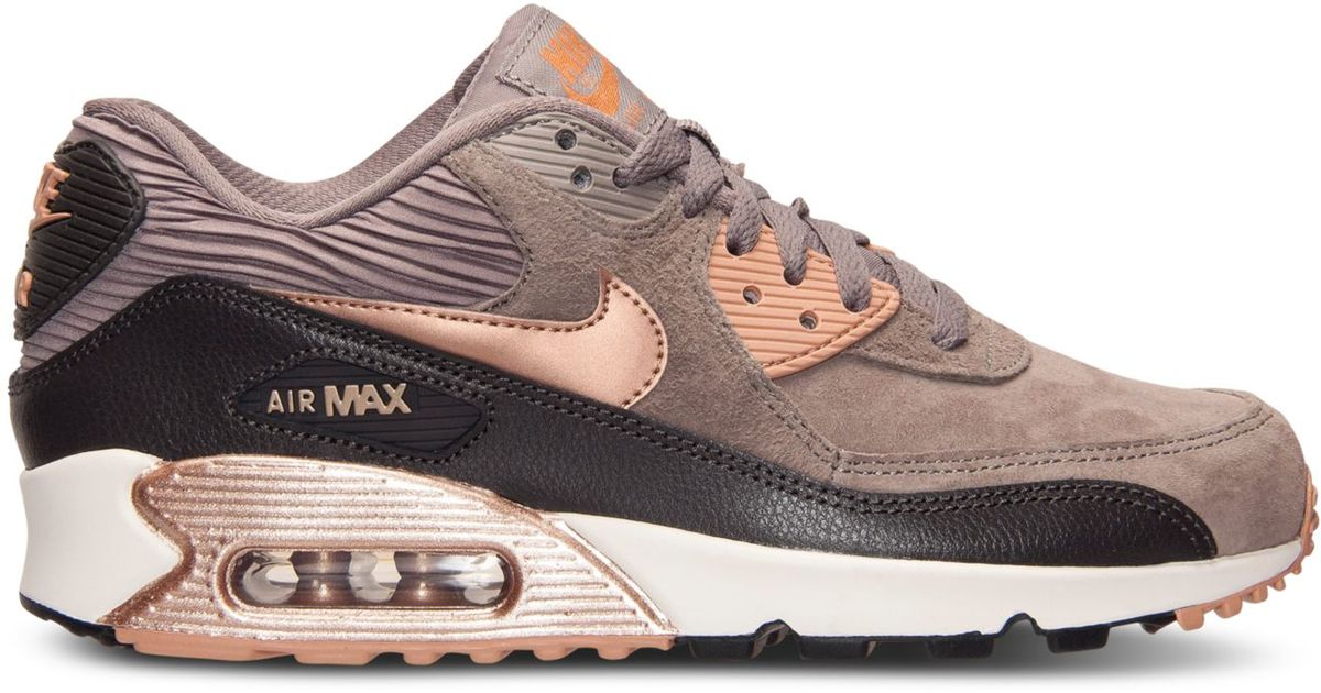 4adfede9d3b9a Nike Women's Air Max 90 Leather Running Sneakers From Finish Line in Gray -  Lyst