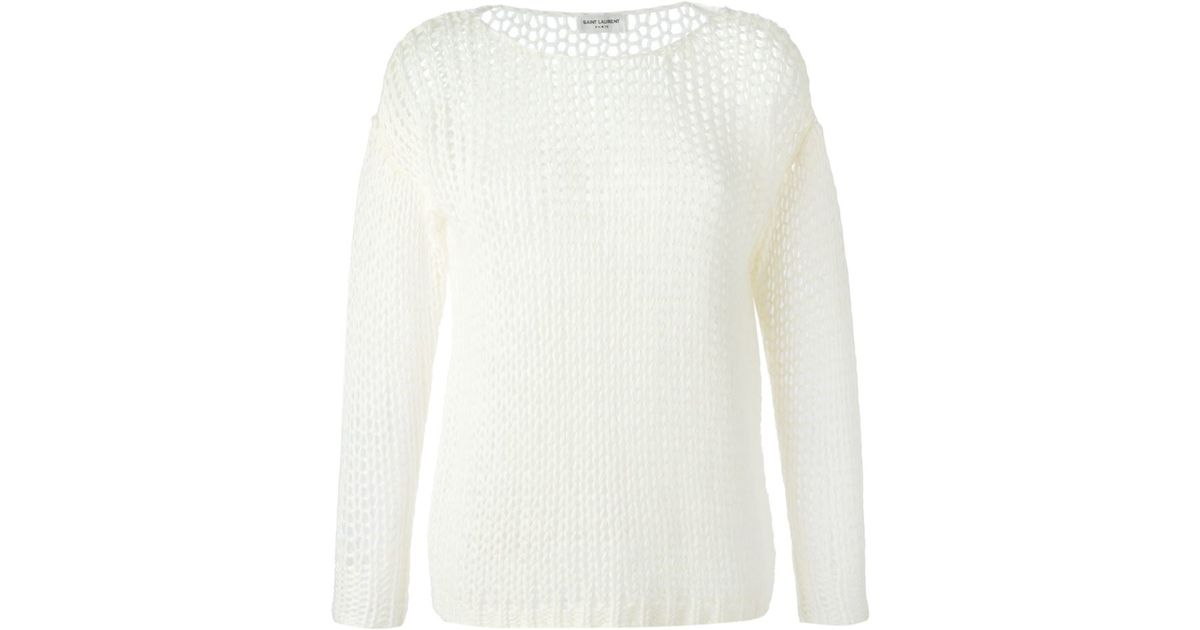 Saint laurent Loose Knit Sweater in White | Lyst