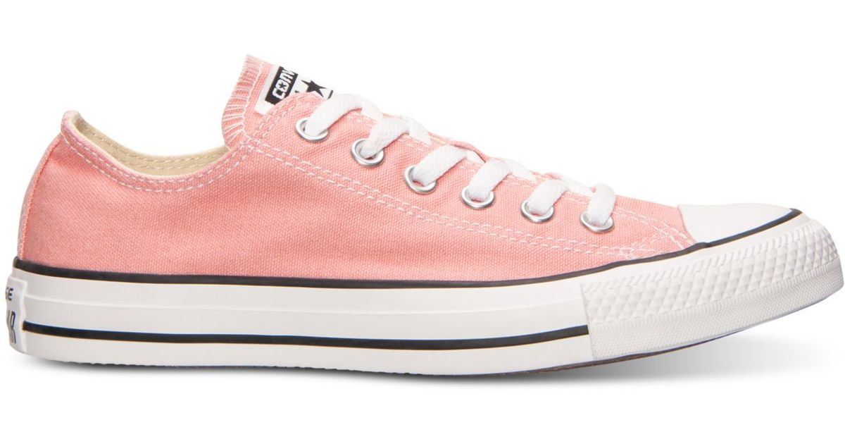 18dd7e3eead1 Lyst - Converse Women s Chuck Taylor Ox Casual Sneakers From Finish Line in  Pink