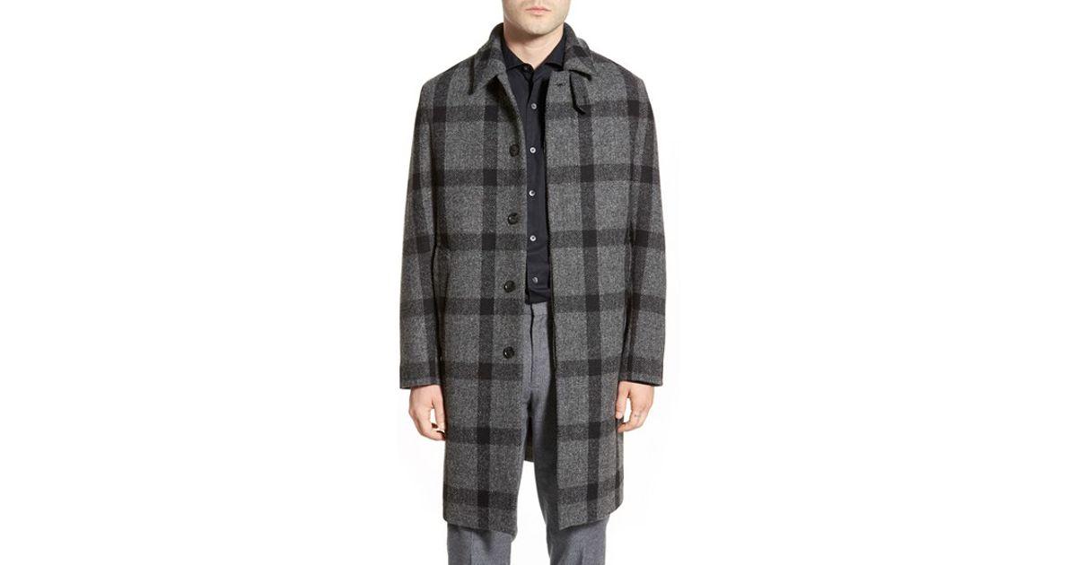 Mackintosh Harris Tweed Windowpane Long Coat in Gray for Men | Lyst
