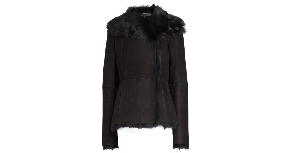 Joseph Toscana Anais Sheepskin Short Coat in Black | Lyst