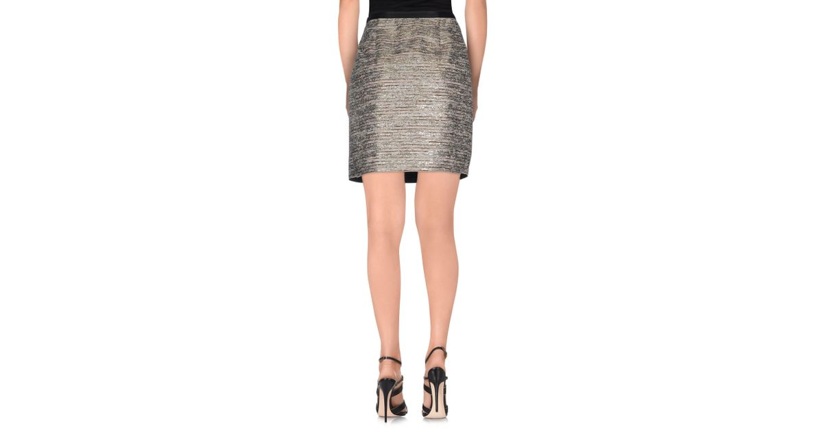 jucca knee length skirt in gray lyst