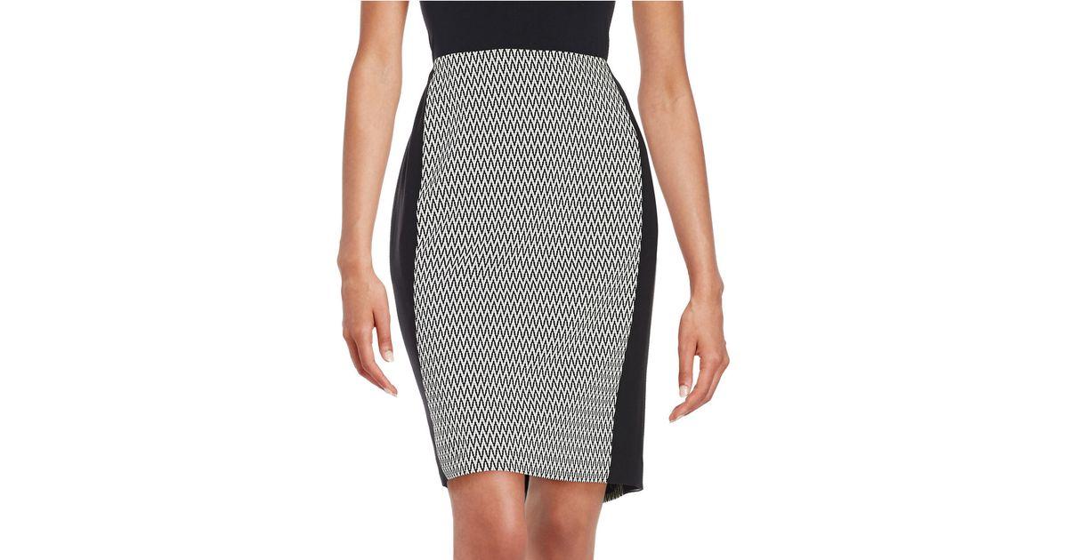 calvin klein patterned pencil skirt in black lyst